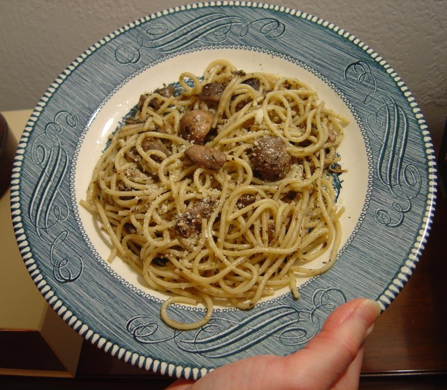 A plate of my scrumptious Mushroom Linguine