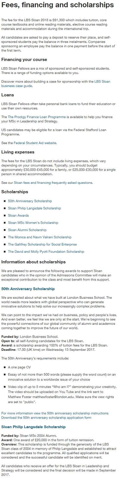 LBS 50th Anniversary Scholarships for International Students in UK 2017