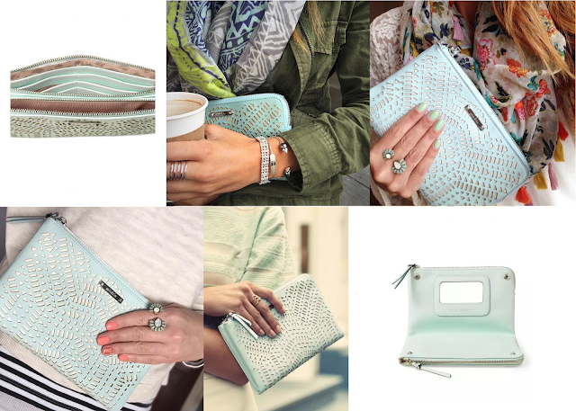 Stella & Dot Double Clutch - Soft Mint Perf