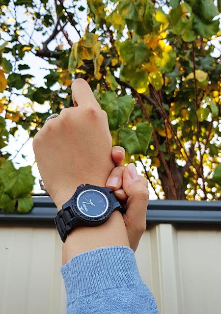 Konifer Pink Breast Cancer Ebony Wood Watch
