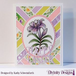 Divinity Designs Stamp Set: Miracle of Easter, Custom Dies: Ovals, Scalloped Ovals, Quilted Background, Happy Easter Caps,  Paper Collection: Spring Flowers 2019