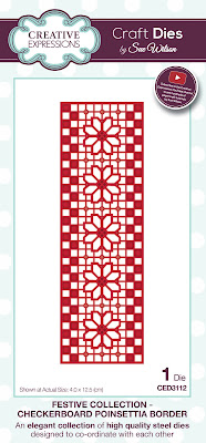 Festive Collection Checkerboard Poinsettia Border Die - CED3112