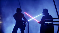 Luke and Vadar in a lightsaber duel, from Star Wars