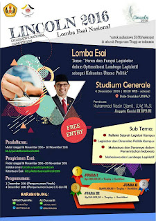 Informasi Lomba LINCOLN (Legistalive National Competition) 2016 By UNPAD Dan Montesquieu Deadline Desember 2016
