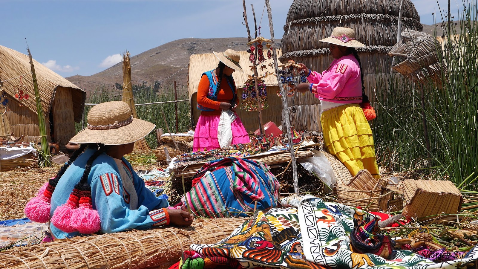 Arts and Crafts on Uros Islands, Lake Titicaca, Peru