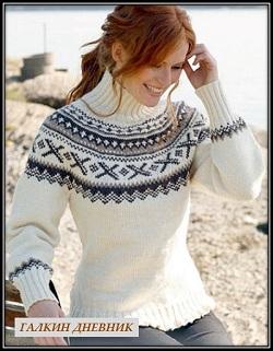 pulover spicami s jakkardovim uzorom