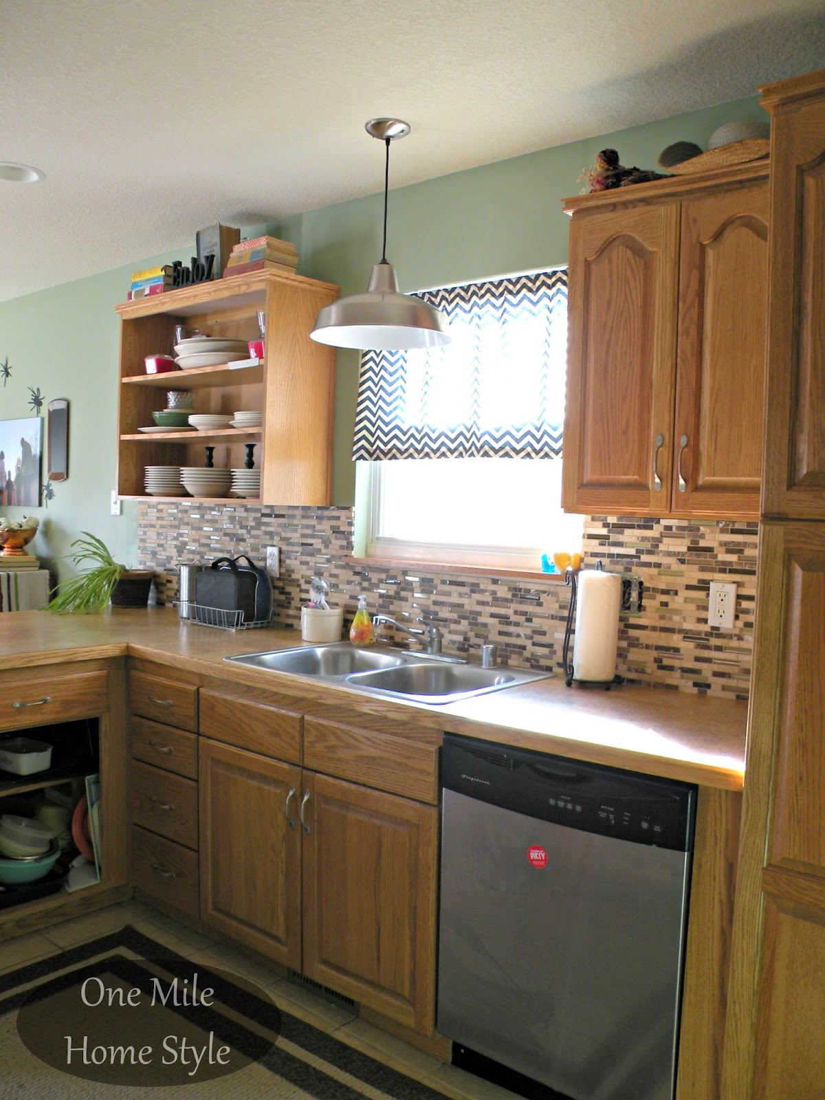 Kitchen Mini-Makeover - Daltile stone and glass backsplash and warehouse pendant