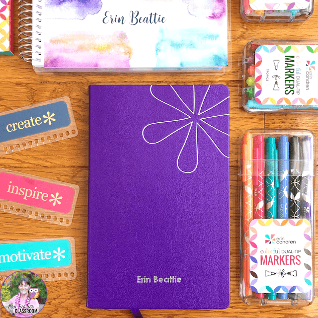 Journaling Supplies - Purple Softbound Notebook and accessories from Erin Condren