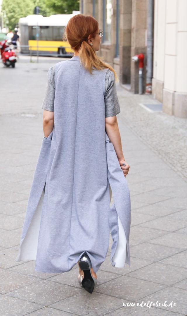 die Edelfabrik, Look, weiße Culottes, lange Weste in Grau