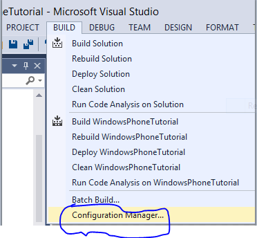 Configuration manager of build menu