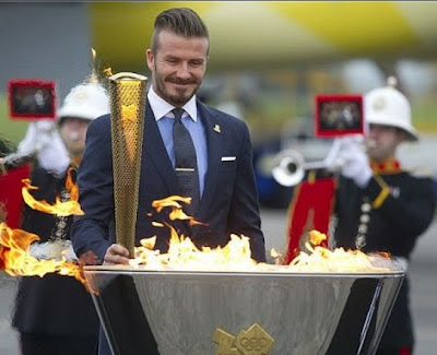 David Beckham with Olympics Torch in London 2012