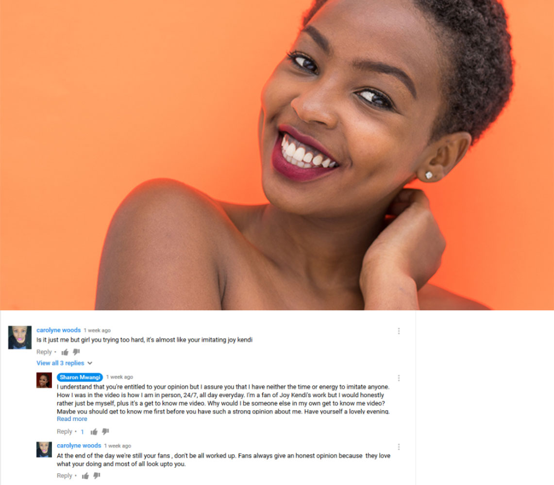 Sharon Mwangi Is A Blogger At Style By Shary. She claims to be an introvert and has recently ventured into the murky waters of YouTube vlogging. Here she is visciously attacked by a YouTube troll.
