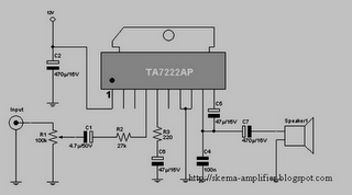 Schematic Volt: 12 V AUDIO AMPLIVIER IC TDA7222AP