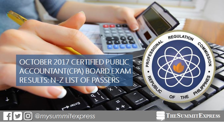 LIST OF PASSERS: N-Z October 2017 CPA board exam results