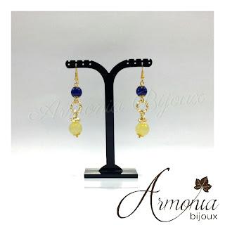 Orecchini pietre fredde blue royal e giallo.