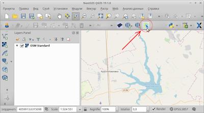 Кнопка OSMInfo на панели инструментов QGIS