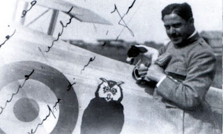 Ferruccio Ranza in the cockpit of a Nieuport fighter plane