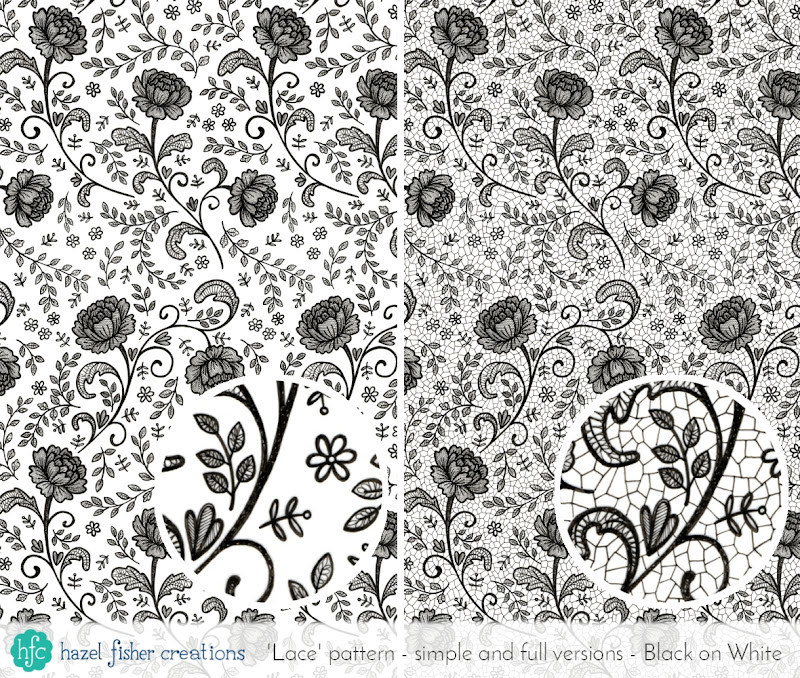 Spoonflower Contest - Lace Gift Wrap, black and white finished hand drawn surface pattern designs by Hazel Fisher Creations