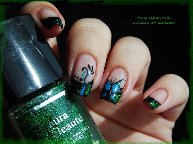 nail art french et papillon7