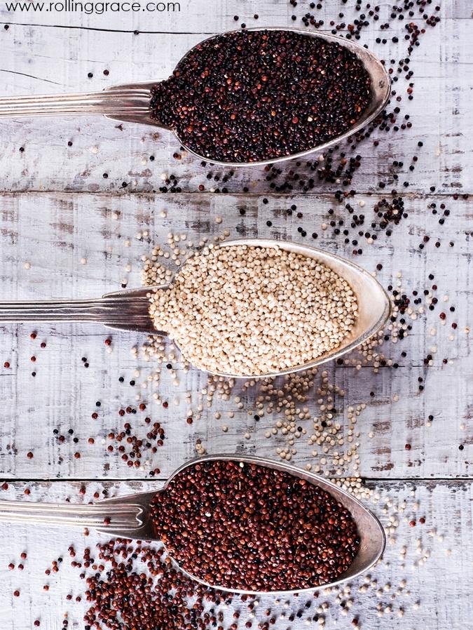 Red, black and white quinoa