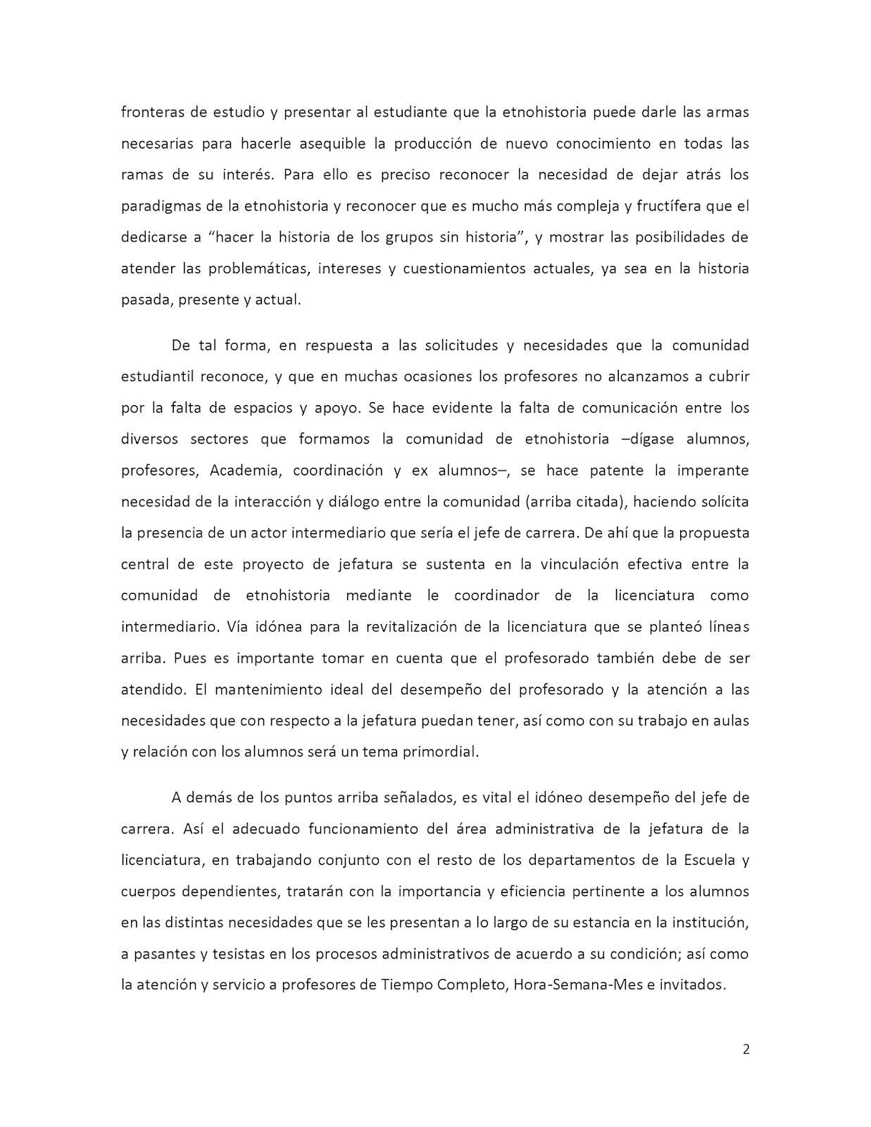 Etnohistoria ENAH Blog: Proyecto de Trabajo para la Jefatura de ...