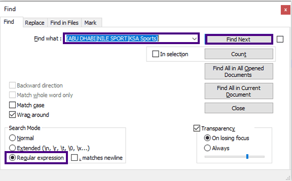طريقة بحث اكثر من كلمة على محرر نصوص notepad++