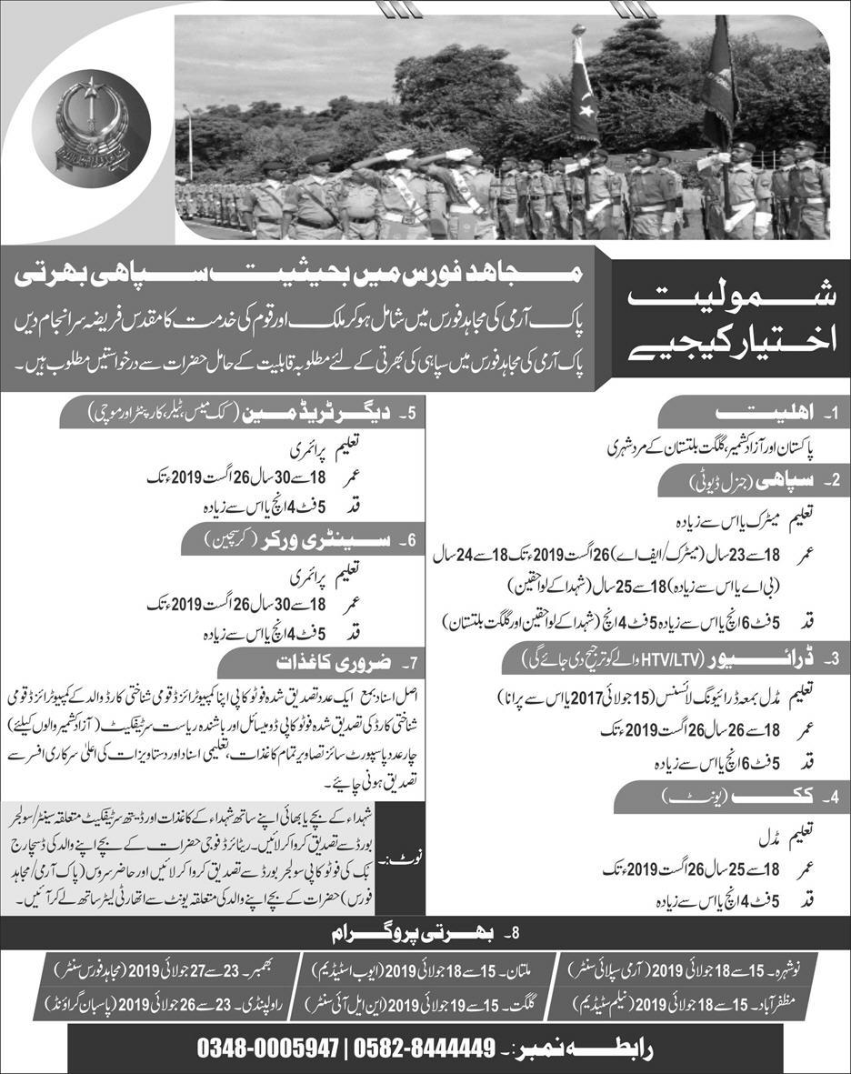 Pak Army Mujahid Force Latest Jobs