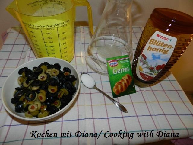 Zutaten Brot mit Oliven