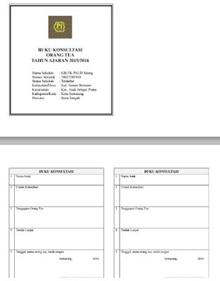 Contoh Buku Konsultasi Orang Tua/Wali Murid PAUD