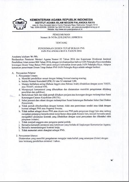 Penerimaan Dosen Tetap Non PNS IAIN Palangkaraya