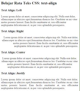 Mengatur Format Text Pada CSS Tengah, Kiri, Kanan dan Rata Kanan Kiri