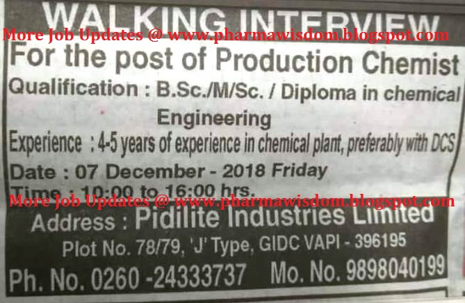 Walk In Interviews For Production Chemist On 7th Dec 2018 Pidilite Industries Limited Pharma Wisdom