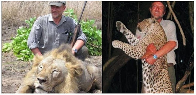 Vet who posed next to lion he had killed falls 100ft to his death on a hunt