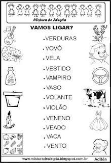 Ligar palavras aos desenhos alfabetização