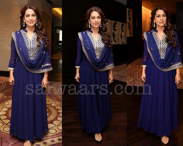 Juhi Chawla in Blue Salwar