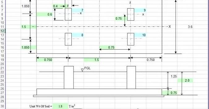 Design of Raft Foundation Excel Sheet