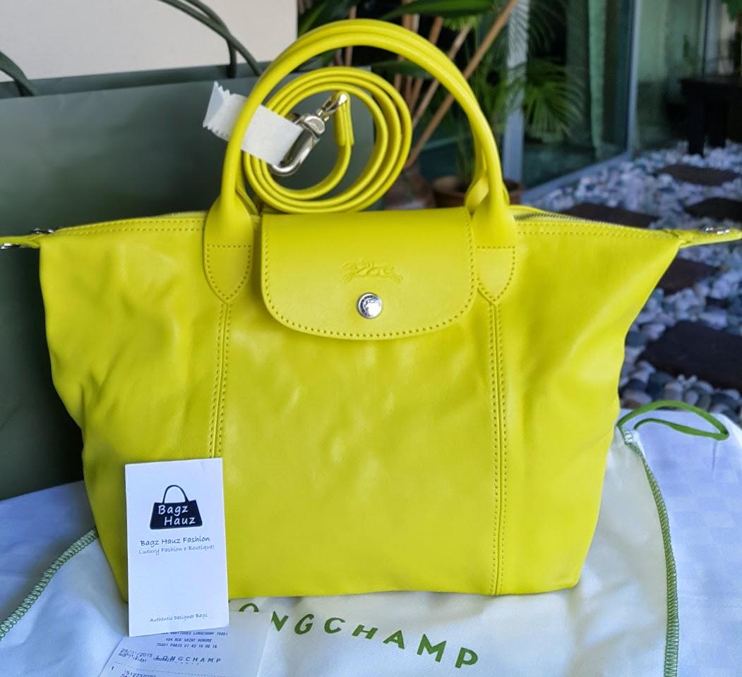 07dd504d725c LONGCHAMP Le Pliage Cuir 25cm SH - Color  Yellow ~ For Maryah ~ ♥♥1st time  customer♥♥