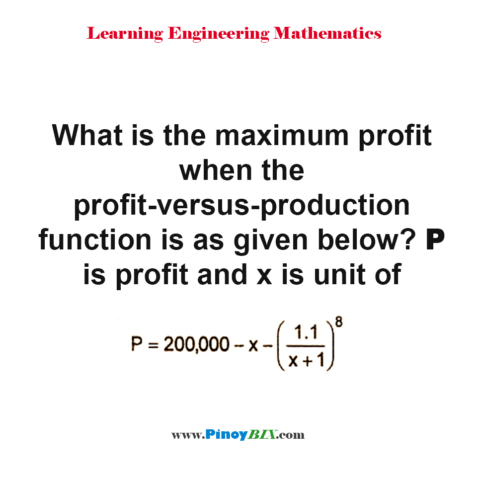 What is the maximum profit when the profit-versus-production equation is given?