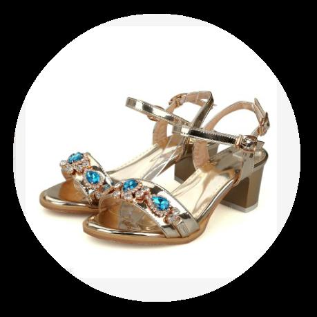 Trendy Rhinestone Horse-Shoe Heel Sandals