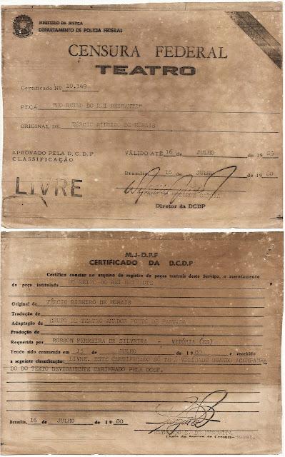 Certificado da Censura Federal do Teatro para a peça No reino do rei reinante. 1985.