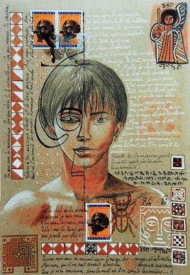 dessin,crayons,couleurs,timbres belges,encre,masque,visage,portrait