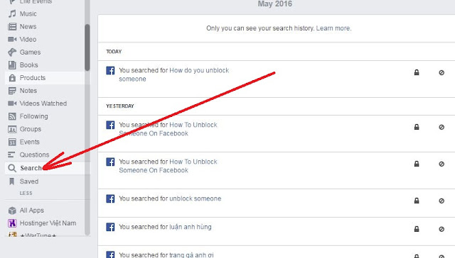 your search history on facebook