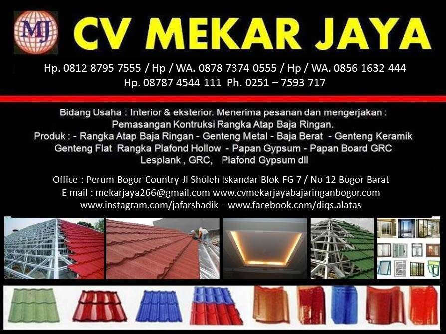 Distributor Baja Ringan Taso Jakarta Cv Mekar Jaya Bogor Depok
