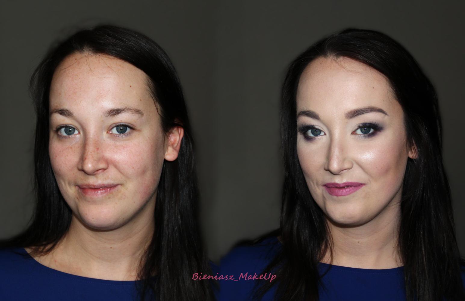 Makijaż okolicznościowy w granacie i bordo