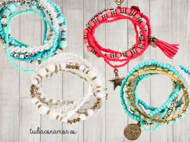 Un recuerdo de moda bonito y original, pulseras étnicas en conjunto en varios colores