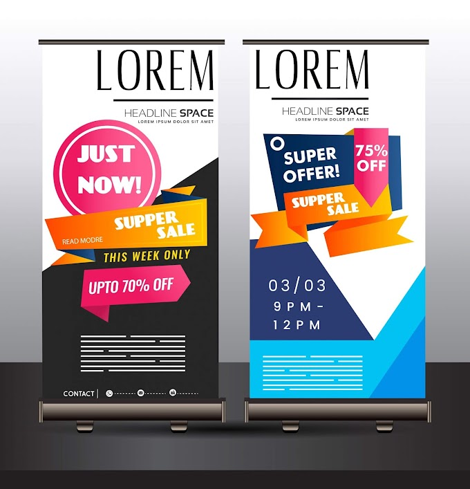Sale banner templates colorful modern vertical standee design Free vector