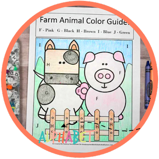 farm color by letter worksheet