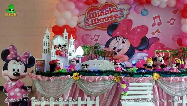 Mesa luxo de tecido Minnie Rosa - Decoração para festa de aniversário infantil