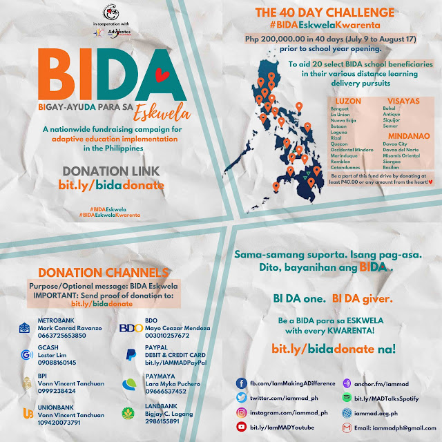 M.A.D. launches 'BIDA Eskwela' to raise P200K in 40-days