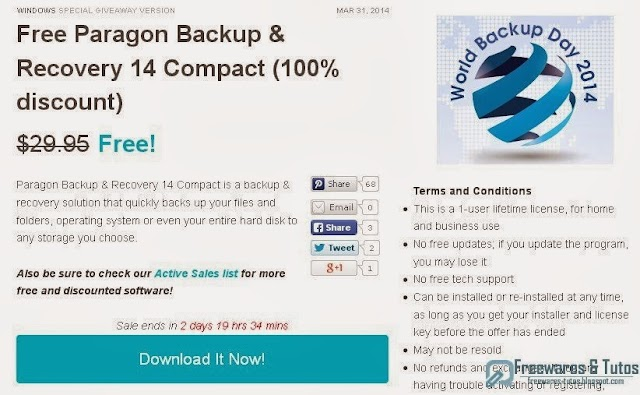 Offre promotionelle : Paragon Backup & Recovery 14 Compact gratuit !